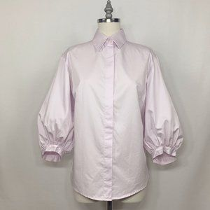 Pink Button Down Blouse with 3/4 Bishop Sleeves